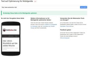 Test auf Optimierung für Mobilgeraete