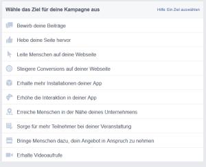 facebook ads kampagnenziel waehlen